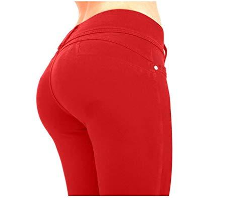 Hoverwings Damenhose, schmale Passform, hoher Bund, Freizeithose, sehr elastisch, rot, L -