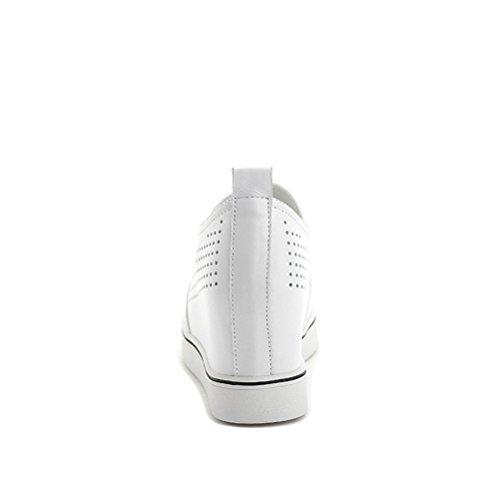 Sommer und Frühling Damen Sportsschuhe Runde Zehen Hohl Versteckte Keilabsatz Flach Lässige Dicke Sohle Plateau Kurzschaft Turnschuhe Sneakers Weiß