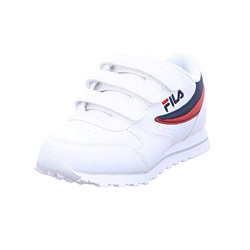 Fila Kinder Orbit Velcro Low Jr Weiße Lederimitat Sneaker Größe 30 Weiß/Dress Blue