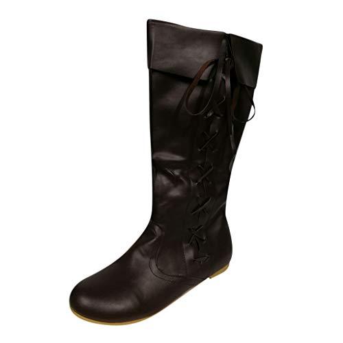 LSAltd Frauen Vintage Reine Farbe Western Knight Hohe Stiefel Klassische Komfortable Criss Cross Lace Up Flache Stiefel Mit Niedrigen Absätzen Outdoor Schuhe -