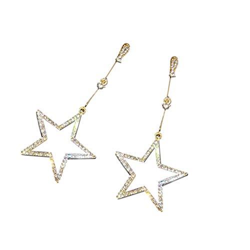 c Ohrringe Ins Fashion Lange Sterne PersöNlichkeit Ohrringe Wilde FüNfzackige Sterne Strass Damen Ohrringe ()