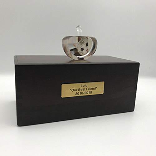 LIZONGFQ Urnen Aus Holz Haustier Feuerbestattung Urne Für Asche, Crystal Photo Sealing Memorial Box Hund Katze Eingeäschert Begräbnis,E -