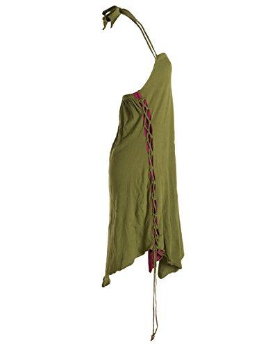 Vishes - Alternative Bekleidung - Lagenlook Neckholder Zipfelkleid zum Schnüren olive-dunkelrot