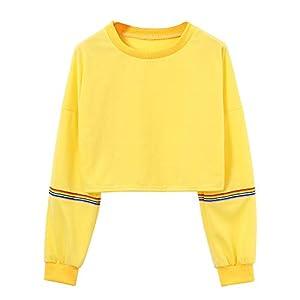 Frauen Langarm Pullovershirt Crop Top Designer Kurz Sweatjacke Pullis mit Lace-up Ärmel Teenager Mädchen Herbst O-Ausschnitt Sweatshirt Oberteile