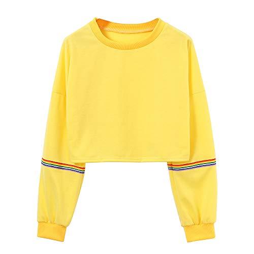 Aberimy Ausverkauf Damen Hoodie Sweatshirt Lange Ärmel Langarm Fashion Einfarbig Uni Gestreifte Regenbogen Drucken Crop Tops Bauchfrei Kapuzenpullover Casual Pullover Blusen Shirt Top