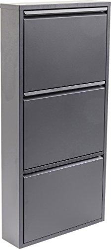 Kare Design Schuhkipper Carusa, Metall, schmal, klein, Grau, 3 Klappen, Flurmöbel, Schuhablage, 42565, (H/B/T) 103x50x14cm