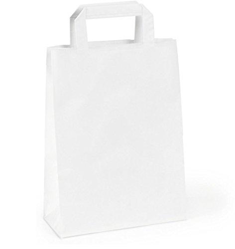 50 Sacs kraft blanc à poignées plates 16 LITRES : 32 cm haut x 40 large x 12 cm soufflet un cabas boutique élégant et solide et renforcé et résistant. Idéal comme cabas boutique, sac magasin, sac commerce, sac cadeau, emballage, sac cadeau, salon et tra