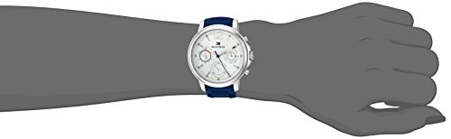 f9fcc4ae98384 Ladies Tommy Hilfiger watch collection. Gold tone steel case. Blue silicone  band. Silver tone dial. Multifunction dial. Crystallized indexes.