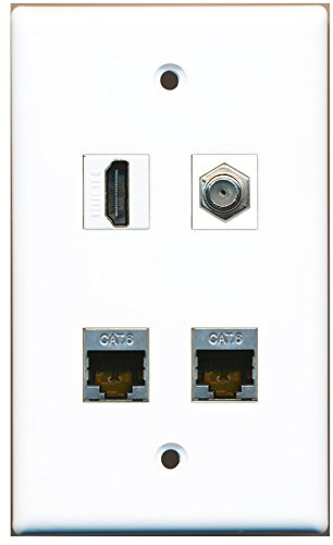 RiteAV - 1 Port HDMI 1 Port Koax-Kabel TV-F-2 Port geschirmt CAT6 Ethernet Wall Plate (Kabel-ethernet-wall Plate)