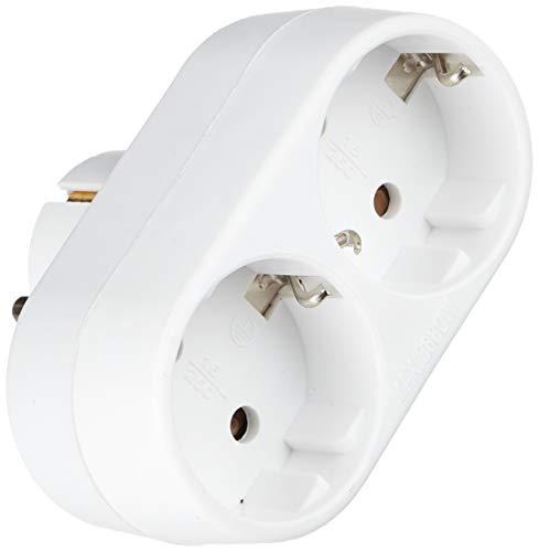 Oferta de Garza Adaptador de enchufe doble frontal con toma de tierra, 2 tomas, color blanco