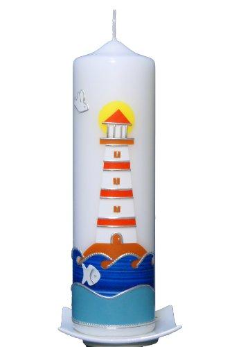 Taufkerze Leuchtturm 25x7cm, wird NUR auf Kundenwunsch für Sie gefertigt. Bei uns bekommen sie keine Massenware. Jede Kerze für sich, ist ein Unikat. -