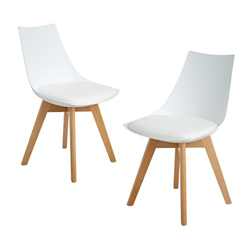 DORAFAIR Lot de 2 Chaise à Manger Scandinave avec Pieds en Bois de Hêtre Massif et Assise en PU,Blanc