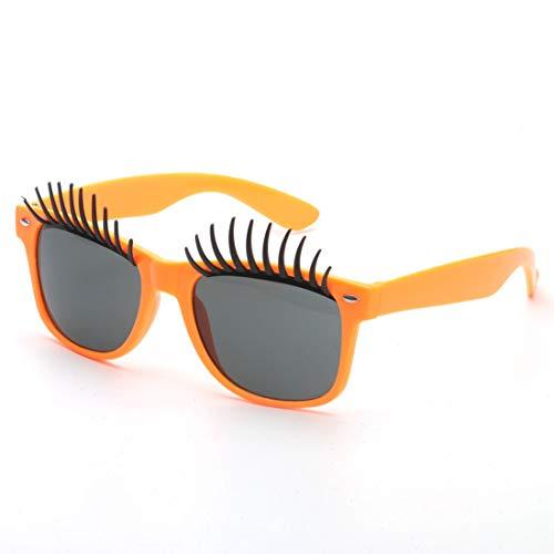Yiph-Sunglass Sonnenbrillen Mode Perfect Party Favor Brille Partyzubehör Big Eyes Eyelashes Fanci-Frame Erwachsene Kinder Party Sonnenbrille (Farbe : Orange)