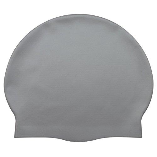 Erwachsene Silikon Badekappe Unisex Normallack Wasserdichte Ohrschützer Badekappe Zwei Loaded,Grey