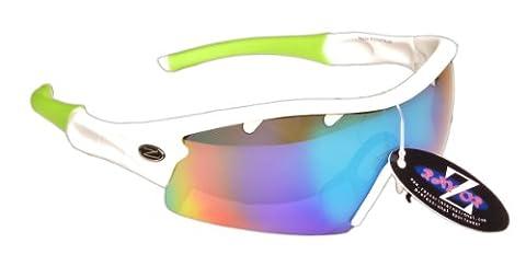 RayZor Professional Lightweight UV400 White Sports Wrap Archery Sunglasses, With a 1 Piece Vented Blue / Green Iridium Mirrored Anti-Glare Lens.