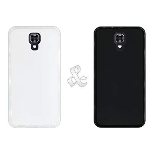 Hapdey Pack [2 Unidades] para [LG X Screen] Funda Protectora de Color [Transparente + Negro] Silicona Flexible Gel