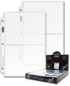 BCW 25ct Photo Archival Storage Binder Pages, 2-Pocket, 5x7-Inch by BCW