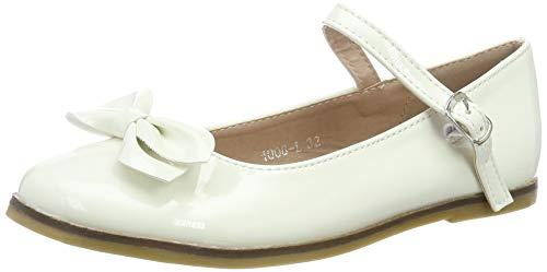 Festliche Kinder Mädchen Ballerinas Schuhe für Partys und Freizeit in vielen Farben M297ws Weiss Gr.32