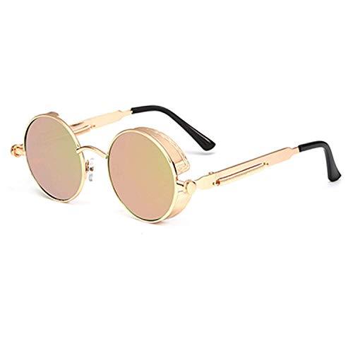 WERERT Sportbrille Sonnenbrillen Steampunk Goggles Sunglasses Men Women Vintage Round Sun Glasses for Retro Uv400 Female Male