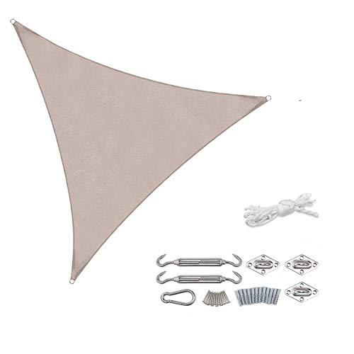 Sekey Vela Parasole Triangolare Tenda a Vela Impermeabile Protezione Antivento con Protezione UV 95% per Giardino Terrazza Campeggio Patio Party, con Corda Libera e Kit di Fissaggio, 3×3×3m Taupe
