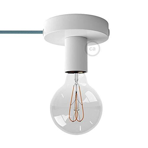 Spostaluce, Source de lumière en métal Blanc avec câble Textil et Trous latéraux - RM18 Effet Soie Vert Lime