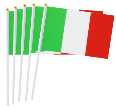 Sammlung 50 (DDG EDMMS Italienische Flagge, 50 Stück, 14 x 21 cm, Handfahne für Dekoration, große Veranstaltungen, Sammlungen.)