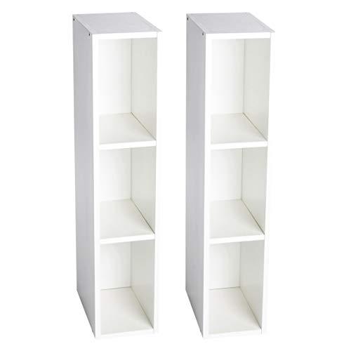 Puckdaddy Stauraumregal Lasse 2er Set - 19x30x93 cm, Stand-Regal aus Holz in Weiß passend zu IKEA Hemnes Kommode, Fächerregal für Wickelkommoden, Wickeltisch-Regal zur Kinderzimmer-Aufbewahrung