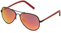 IDEE Aviator Sunglasses (IDS1957C5SG|56|Black and Red )