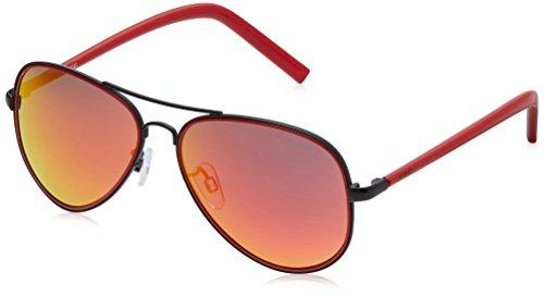 IDEE Aviator Sunglasses (IDS1957C5SG|56|Black and Red ) image