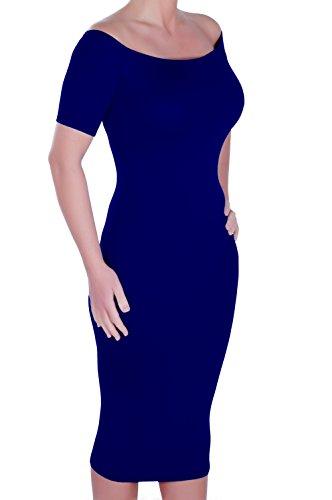 Eyecatch - Corinna Aux Femmes Épaule Off Bardot Style Dames Robe Marine