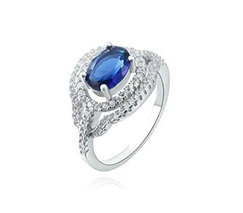 AMDXD Bijoux Plaqué Argent Bague de Mariage pour Femme Cercle Creux Ovale Argent Bleu Taille 54