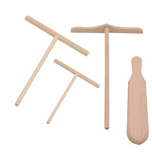 Ogquaton Krepp-Spreizer Bambusspatel Kit Crepe Pan handgemachte natürliche Holz für Machen Frühstück Pfannkuchen 4 Stück Set (Natürliche Holz-spachtel)