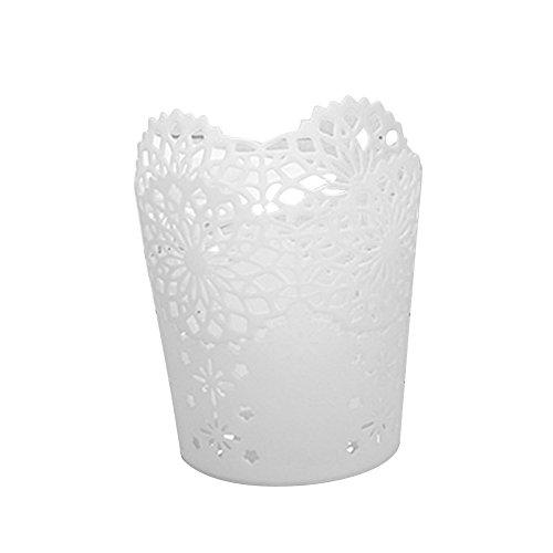 Hohl Blume Muster Kunststoff-Bleistift Halter Desktop Container Organizer, plastik, weiß, Einheitsgröße (Desktop-bleistift-organizer)