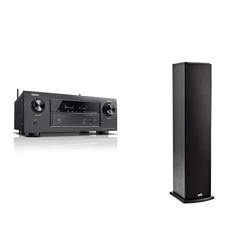 Denon AVRX2400H 7.2 Surround AV-Receiver (HEOS Integration, Dolby Vision Kompatibilität, Dolby Atmos, dtsX, HDMI Eingänge, 7x 150 W) schwarz & Polk Audio T50 Stand-Lautsprecher, schwarz (1 Stück) Vision Audio Bundle