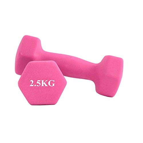 SAILUN 2er Set Gymnastik Hantel Hexagon Aerobic Kurzhanteln Neopren Gewichts 2,5 Kg Farbe Pink