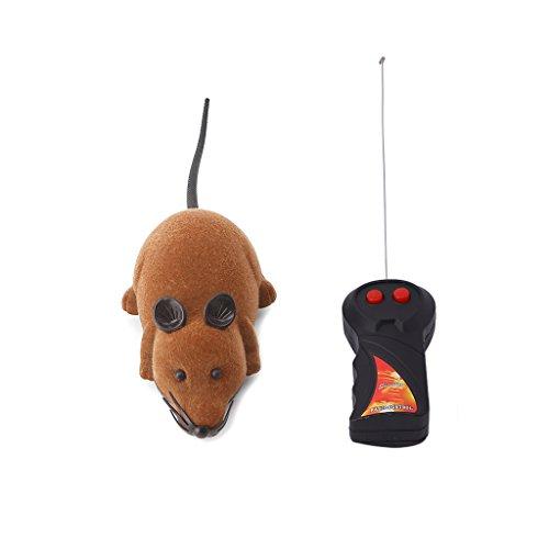Lazder Spielzeugmäuse Fernbedienung Elektrische Ratte Plüsch Maus Spielzeug für Katzen Hunde Haustiere Kinder (braun)