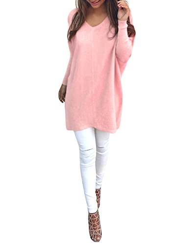 Romacci Women Autumn Winter Sweater V-Neck Loose Knitted Oversized Baggy Sweater Jumper Tops Dress Plus Size Outerwear