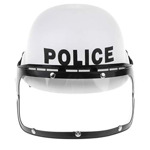 KESOTO Gioco Casco Moto Polizia Visiera Costume Moticiclista Feste Tema Bambini Bianco
