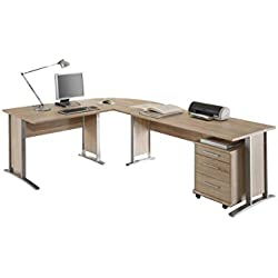Stella Trading Office Line Winkelkombinantion, Holzdekor, Sonoma, 220 x 170 x 72 cm