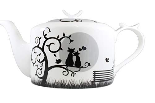 Teekanne Brillantporzellan -Modern- Dekor Katzen im Mondschein
