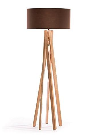 Hochwertige Design Stehlampe Tripod mit Stoffschirm in creme-braun und Stativ/Gestell
