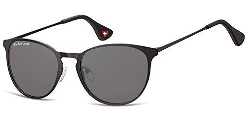 Demel Augenoptik Moderne Sonnenbrille für Damen und Herren - Polarisierte Gläser mit UV400-Schutz - Inklusive Brillenetui und Mikrofasertuch Modell: MP88 (Schwarz)