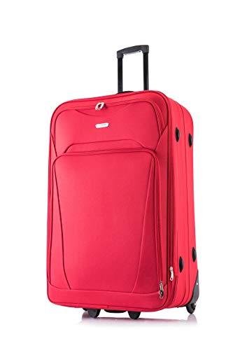 Flymax, valigia leggera espandibile, trolley con 2ruote, bagaglio da viaggio Rosso Red 32' Extra Large