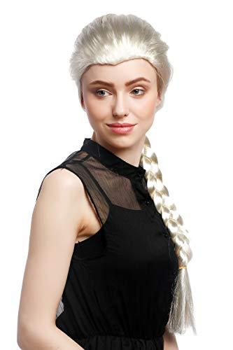 WIG ME UP - XR-009-P613 Perücke Damen Karneval Cosplay Blond Hellblond Langer Zopf geflochten Prinzessin ca. 70 cm (Eis Kostüm Für Erwachsene)