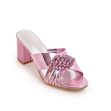 Sandales femmes Printemps Été robe en cuir de brevet Gladiateur Parti occasionnels & Soir Talon talon bloc tresse Blushing Pink