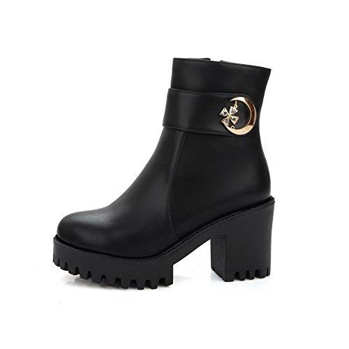 AgooLar Damen Hoher Absatz Eingelegt Niedrig-Spitze Stiefel mit Metallisch, Cremefarben, 35