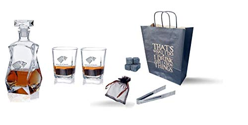 Whisky-Dekanter-Set - I Drink and I Know Things Game of Thrones inspiriert - 2 Scotch-Gläser, 750 ml Likörspender, 6 Steine und Löffe