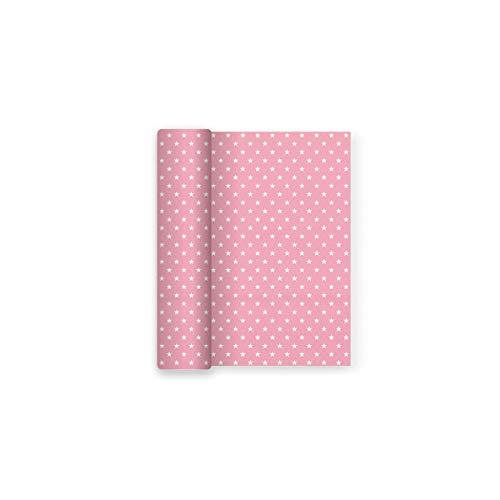 Mantel de papel con decorado de Estrellas Rosa Baby ideal para fiestas de cumpleaños, aniversarios, fiestas baby shower y bautizos - 1,2 x 5 m