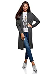 oodji Collection Damen Verschlussloser Langer Cardigan, Grau, DE 36 / EU 38 / S