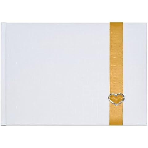 Elegante fiocco libro degli ospiti con oro bianco e diamante cuore